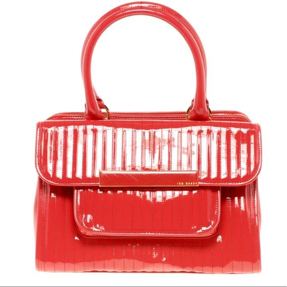 55159f439890 Ted Baker Red Enamel Flap Pocket Bag. M 5afe08fa8af1c5da813e5dae